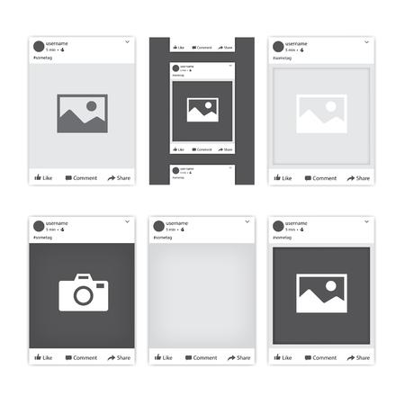 Conjunto de diferentes marcos de fotos de redes sociales para Facebook. Tepmlates de marcos de fotos para diferentes aplicaciones y gadgets móviles. Ilustración vectorial Foto de archivo - 82270000