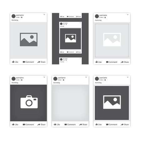 Set of different social network photo frames for Facebook. Tepmlates of photo frames for different apps and mobile gadgets. Vector illustration.