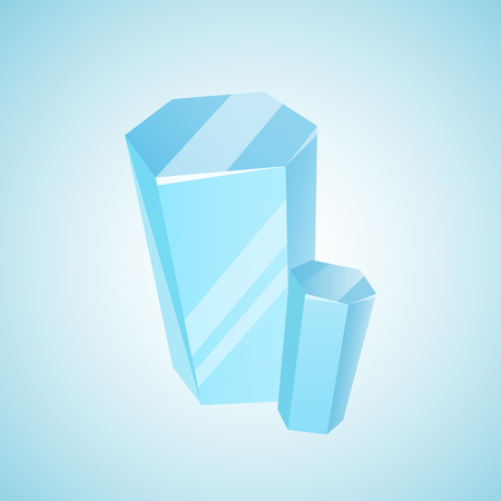 splinter: Vector colored mineral, crystal, gem and diamond. Magic crystal on blue background. Isolated bright shining jewel of blue color