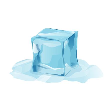 Glaçon fondu avec transparence, élément de vecteur 3d. Pièce neigeuse sur fond blanc. Pièce de glace isolée dans un style bande dessinée pour votre conception. Modèle de dépliant ou de bannière. Illustration vectorielle