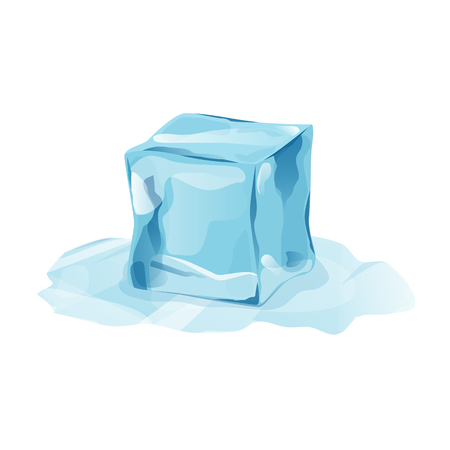Melted ice cube with transparency, 3d vector element. Snowy piece on white background. Isolated ice piece in cartoon style for your design. Template for leaflet or banner. Vector illustration art.
