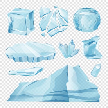 セット分離アイス キャップの吹きだまりと透明な背景の装飾ベクター冬のつららの要素。アイス キューブ、3 d ベクトルの透明度を設定します。白