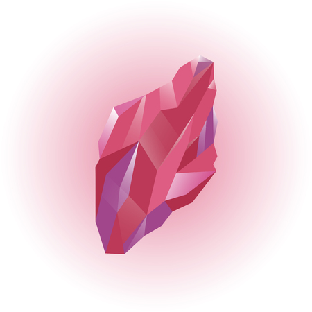 Colored mineral, crystal, gem, diamond. Magic red and pink crystal. Isolated bright shining jewel of pink, red and violet colors. Vector illustration