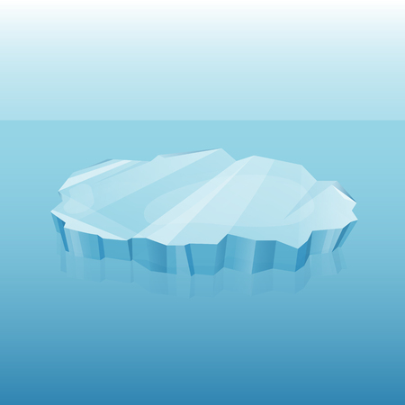 Winter decor vector element. Iceberg with transparency in ocean  or sea, 3d vector for your design. Ice element on blue background. Template in cartoon style for your design Illustration