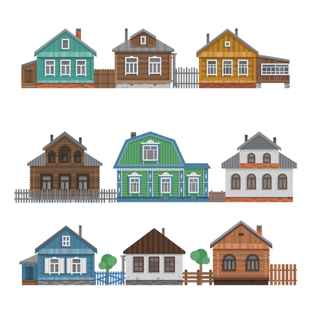 Country houses collection. Colorful village russian old houses set. Countryside colored house. Cute outback hut with wooden fence, decoration, trees. Vector illustration art.