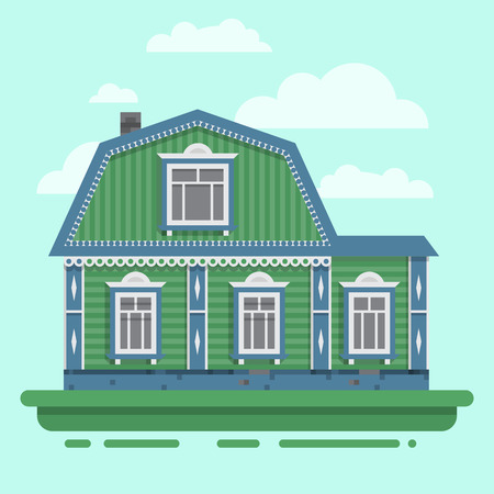 blockhouse: Country green house. Colorful village Russian old house. Countryside colored house. Vector illustration art. Illustration