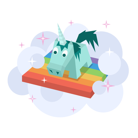 foal: Vector unicorn flat image. Isometric element for children design. Cute turquoise isometry funny unicorn. Fairy magic isolated vector object, cartoon design illustration. Beautiful horse with horn Illustration