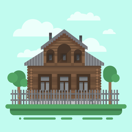 blockhouse: Country brawn house with trees and fence. Colorful village russian old house. Countryside colored wood house. Cute outback hut with decoration, grass. Vector illustration art with blockhouse.