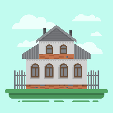 blockhouse: Country old gray house with fence. Colorful village russian old house. Countryside colored wood house. Cute outback hut with decoration, grass. Vector illustration art with blockhouse.