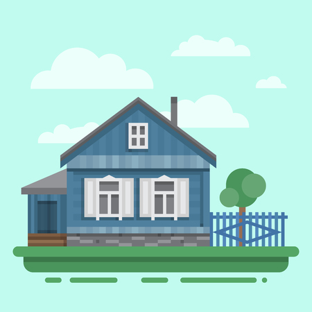 blockhouse: Country old blue house with fence, trees. Colorful village russian old house. Countryside colored wood house. Cute outback hut with decoration. Vector illustration art with blockhouse.