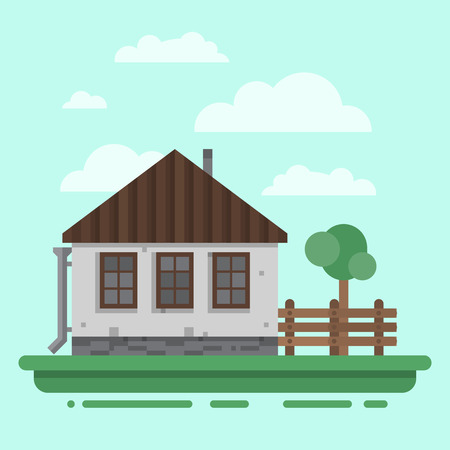blockhouse: Country house. Colorful village russian old house. Countryside colored house. Cute outback hut with wooden fence, decoration, trees. Vector illustration art.