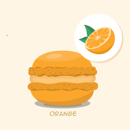 Macaroon with Orange taste, flavor and filling. Orange macaroon with title. Tasty cake for your menu or poster. Template for your design. Vector illustration art