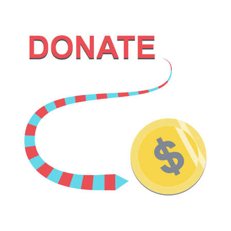 Donate green button with coins, dollar sign and ribbon. Help colored button. Gift charity. Isolated support design. Contribute, contribution, give money, giving symbol. Vector illustration