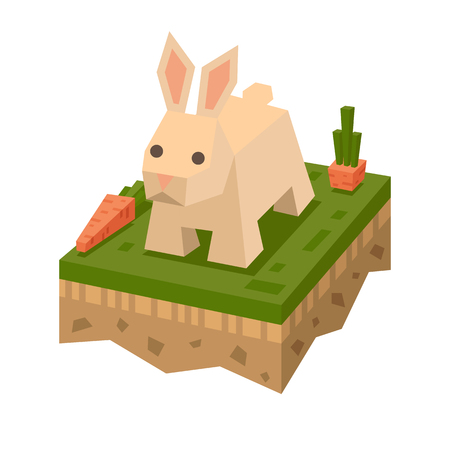 3D isometric flat style rabbit Illustration