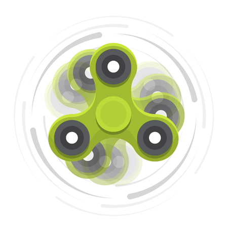 Green hand spinner in motion.
