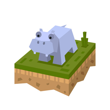 3D isometric flat style hippo. African isometry animal. Vector character. Hippo wild jungle , mammal in wildlife. Hippo on ground tile. Illustration