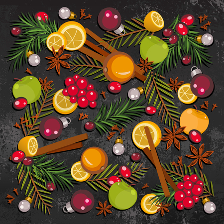 Happy New Year and Merry Christmas background for greeting card with colorful fruits, berries, speces, fir-tree branches and toys. Cartoon style of New Year and Christmas mulled wine set. Vector illustration art for celebration concept.