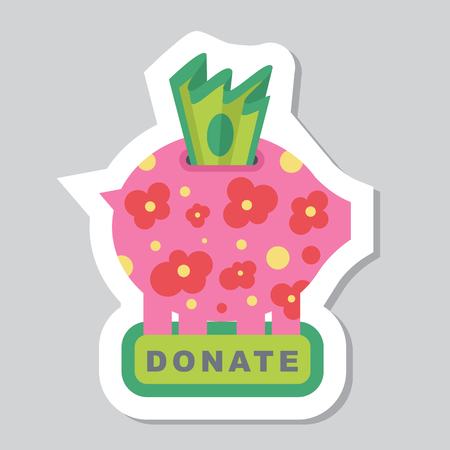 Donate button with piggy bank, flowers and dollar sign. Help red green sticker. Gift charity. Isolated support design. Contribute, contribution, give money, giving symbol. Vector illustration