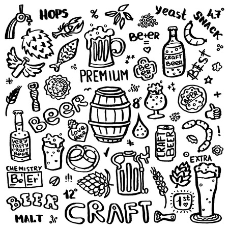 Craft beer hand drawn elements set. Outline black icons of craft beer things. Craft beer info graphics for your design. Home brewing, crafted beer. Black and white vector illustration art. Illustration
