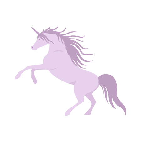 Vector silhouette unicorn image. Element for design. Violet cute silhouette unicorn. Fairy magic element, isolated vector object, flat design illustration. Beautiful horse with horn Ilustração