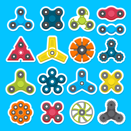 Hand spinner.s set Toy for increased focus, stress relief. Fidget relax and meditation. Flat icons. Collection of different colored spinners. Gadget plaything. Vector illustration art.