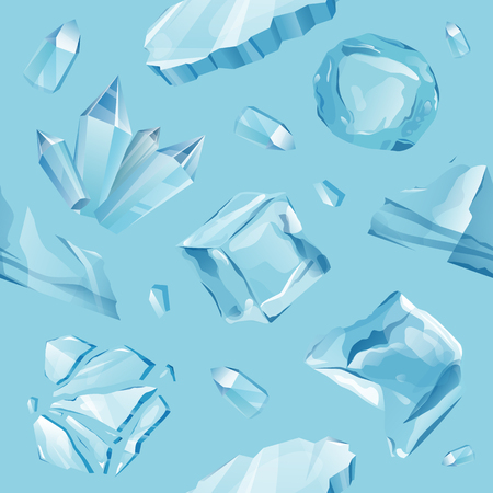 Pattern with ice caps snowdrifts and icicles elements winter decor vector. Ice cube with transparency, 3d vector pattern.