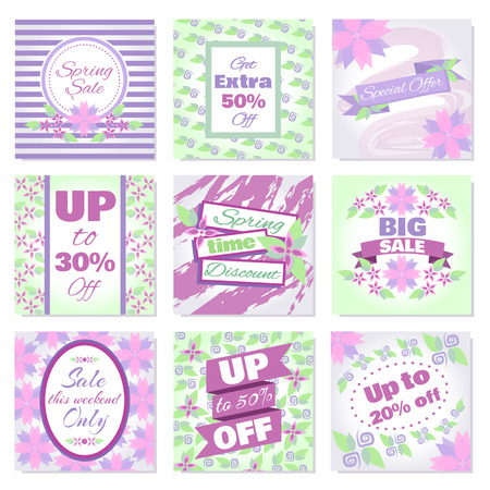 Spring Sale banners vector set. Badges collection with blooming lilac flowers and frames for Spring sale. Design template cards for hotel, beauty salon, spa, restaurant, club. Vouchers spring discount Ilustracja