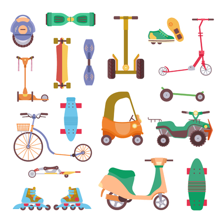 Different urban park activity sport wheel devices, vehicles and park transport vector illustration set. Baby manual car, Solo Unicycle, Gyro pod skate, Scooter, Skate board, Ripstik, roller Skates. Ilustracja