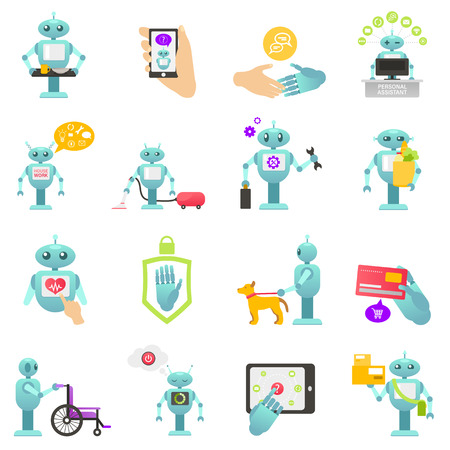 Robo advisor of financial transactions, advisers health help, help disabled people, cleaning robot, housework, mechanic robot, personal robo assistant. Colorful vector illustration for web, printing. Illustration