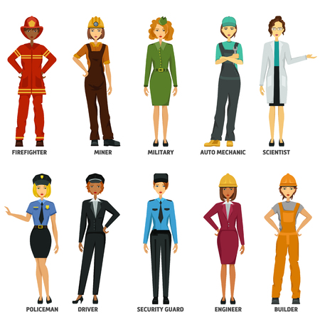 Women working in non-traditional roles, industries: technolog, miner, military, automechanic, scientist, builder, driver, firefighter, policeman, security guard, engineer. Hard female professions, job Ilustración de vector