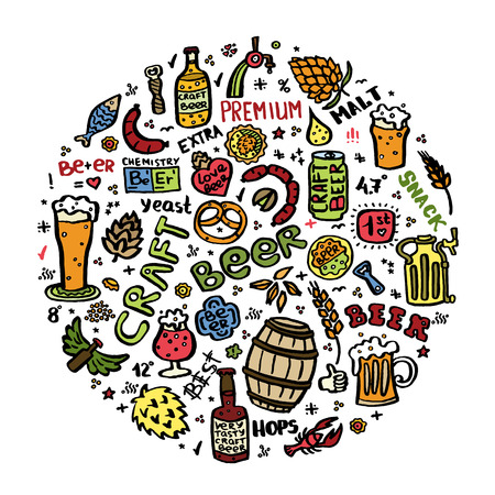 Craft beer hand drawn elements set in circle. Outline black icons of craft beer things. Craft beer info graphics for your design. Home brewing, crafted beer. Black and white vector illustration art. Vektorové ilustrace