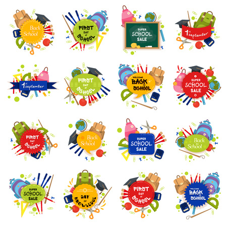 Big set of Welcome back to school labels. School Background. Sale tag. Vector illustration. Typography emblem. Back to school badge. Cool, modern trendy school logo with school things. Vector set Vettoriali