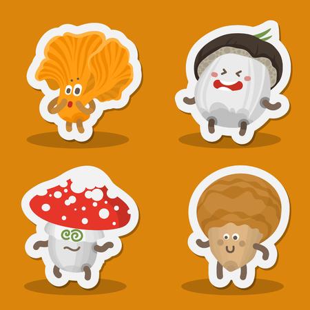 Vector illustration set mushrooms emoticons. Mushrooms icons collection with human face showing various emotions. Harvest symbols. Forest mushrooms Emoji. Autumn funny emotion mushrooms. Sticker icons