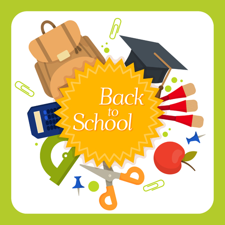 Welcome back to school label, badge. School Background. Sale tag. Vector illustration. Typography emblem. Back to school badge. Cool, modern trendy school logo with school things. Vector image Vettoriali