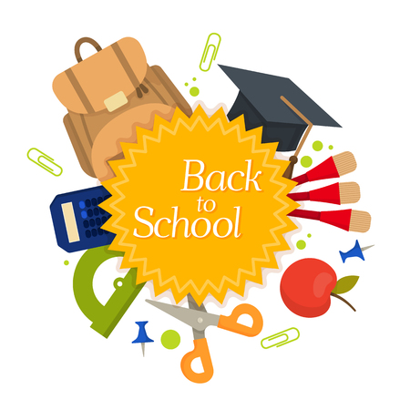 Welcome back to school label, badge. School Background. Sale tag. Vector illustration. Typography emblem. Back to school badge. Cool, modern trendy school logo with school things. Vector image Illustration