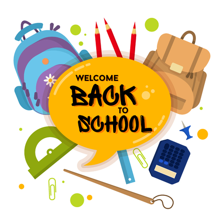 Welcome back to school label, badge. School Background. Sale tag. Vector illustration. Typography emblem. Back to school badge. Cool, modern trendy logo with school things. Vector image Vettoriali