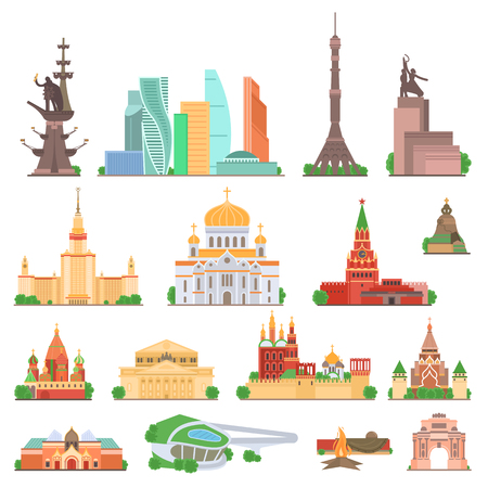 Sights of Moscow vector illustration set. Moscow architecture historical famous beautifull objects. Elements for design concept. Moscow sightseens for tourists gift card, web design, leaflet. Vector.