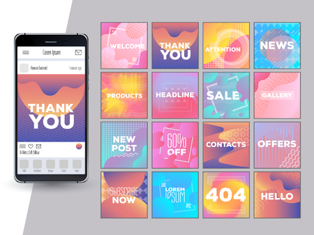 Social Network Mockup. Mobile App. Vibrant gradient vector GUI. Design template of corporate or private blog. Creative design concept for bloggers, designers, shop owners, entrepreneurs and businesses
