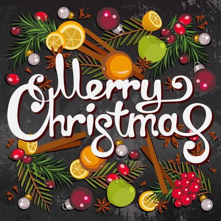 Merry Christmas greeting card with colorful fruits, berries, speces, fir-tree branches and toys. Cartoon style of New Year and Christmas mulled wine background. Vector Ilustração