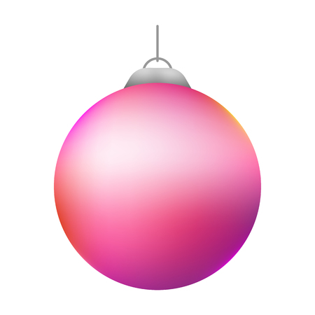 Christmas ball. New Year decoration toy. Christmas decoration isolated on white. Festive Christmas decoration for website, social networks, blog or your video channel. Vector art