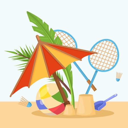 Vector image, object that capture the spirit of summer, summertime: ball, sun umbrella, sandpit, kids paddle, badminton, sun, beach, tropical leaves. Design concept, summer colorful image. Vector.