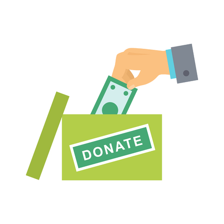 Donate button with hand, box and dollar sign. Help red green sticker. Gift charity. Isolated support design. Contribute, contribution, give money, giving symbol. Vector illustration Illustration