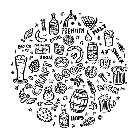 Craft beer hand drawn elements set in circle. Outline black icons of craft beer things. Craft beer info graphics for your design. Home brewing, crafted beer. Black and white vector illustration art.