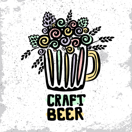 Craft beer hand drawn element. Outline black icon of craft beer concept. Craft beer poster, banner for your design. Home brewing, crafted beer. Design concept vector illustration art.