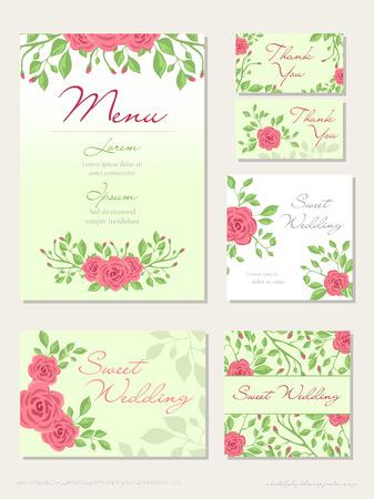 Vector conjunto de concepto de diseño de boda con invitación, menú, Rsvp, linda tarjeta, sobre, portada, cartel. Concepto de diseño de boda floral con flor rosa, eucalipto, ramo de vegetación romántica de moda Ilustración de vector