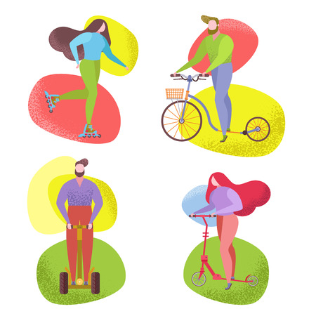 People riding a byke scooter in city park collection. Vector flat image set. Trendy naive style whimsical figure, characters drawing flat, funky, like matis. Urban fun park summer activity, sport.