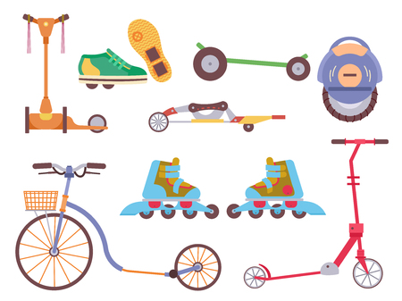 Different urban park activity sport wheel devices, vehicles and park transport vector illustration set. Baby manual car, Solo Unicycle, Gyro pod skate, Scooter, Skate board, Ripstik, roller Skates. Illustration