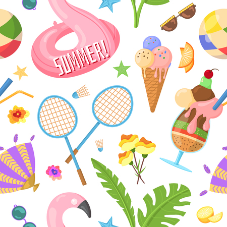 Vector pattern with images that capture the spirit of summer, summertime such as flamingo inflatables, ice cream, fruits, tropical leaves. Beach vacation, fun, sunbathing. Vector pattern.