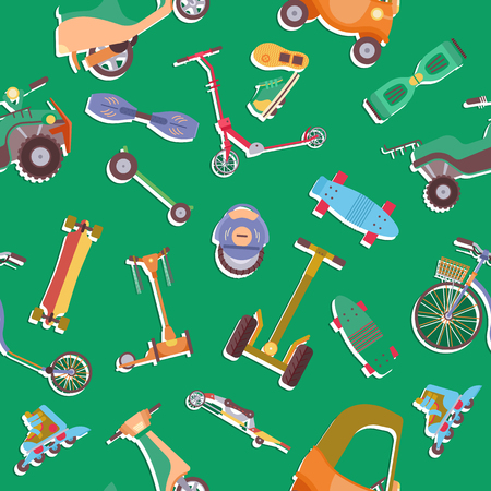 Different urban park activity sport wheel devices, vehicles and park transport vector  pattern. Baby manual car, Solo Unicycle, Gyro pod, Scooter, Skate board, roller Skates. Park summer pattern Ilustracja