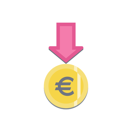 Donate button with euro sign. Help colorful sticker. Gift charity. Isolated support design. Contribute, contribution, give money, giving symbol. Vector illustration Ilustrace